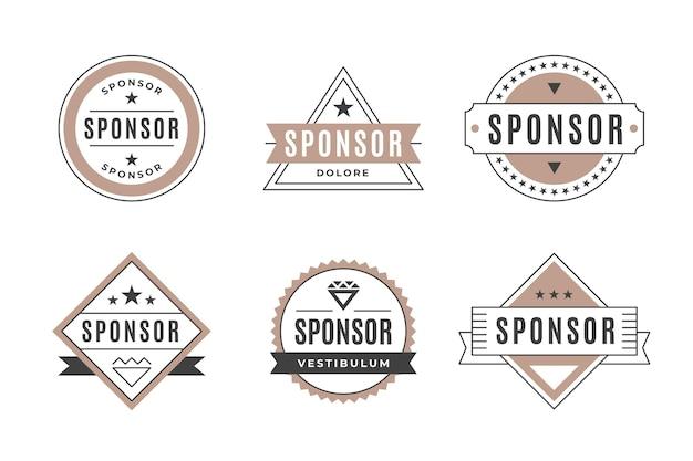 Zestaw vintage etykiety sponsora