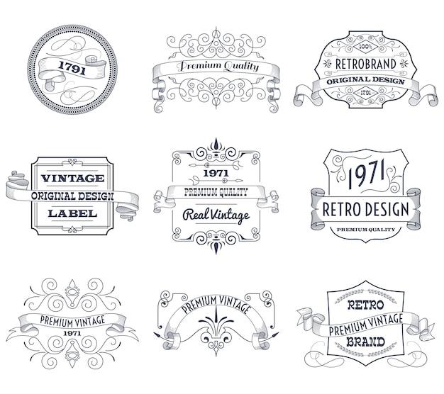 Zestaw vintage etykiety