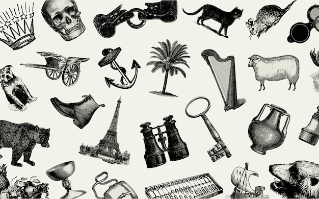 Zestaw vintage europejskich obiektów