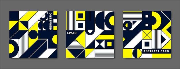 Zestaw vintage geometryczne kształty bauhaus, karty.