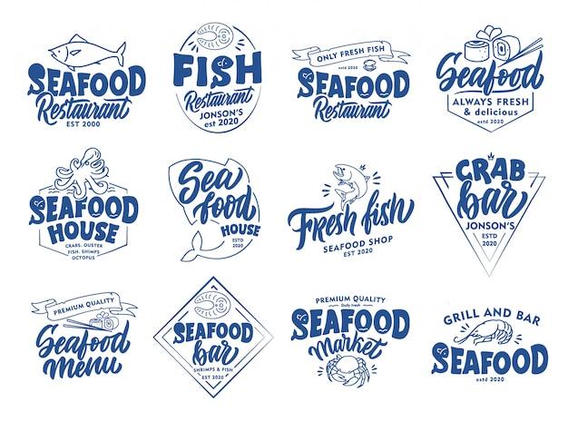 Zestaw vintage herby owoce morza i znaczki. odznaki pasek ryb, naklejki na białym tle.