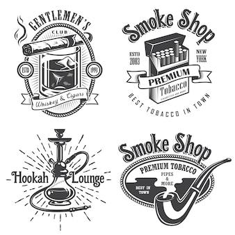 Zestaw vintage herby palenia tytoniu, etykiety. odznaki i logo. styl monochromatyczny. na białym tle