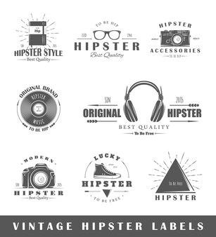 Zestaw vintage hipster etykiet
