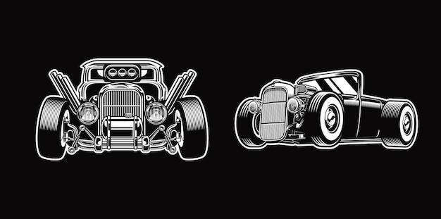 Zestaw vintage hotrod w monochromatycznych samochodach w stylu retro premium wektor