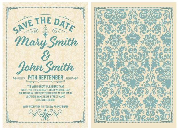 Zestaw vintage karty zaproszenie na ślub