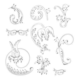 Zestaw vintage kwiatowe elementy do projektowania monogramów, zaproszeń, ramek, menu i etykiet.