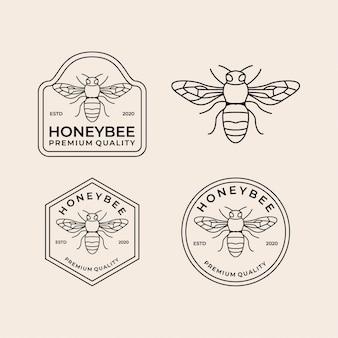 Zestaw vintage logo linii pszczoły miodnej