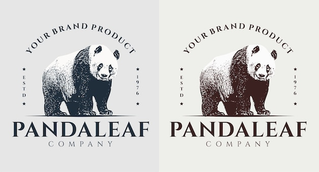 Zestaw vintage logo liść pandy