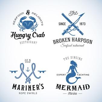 Zestaw vintage logo morskie szablon.