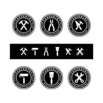 Zestaw vintage logo narzędzia stolarskie