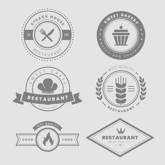 Zestaw vintage logo restauracji