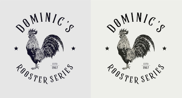 Zestaw vintage logo serii dominic rooster