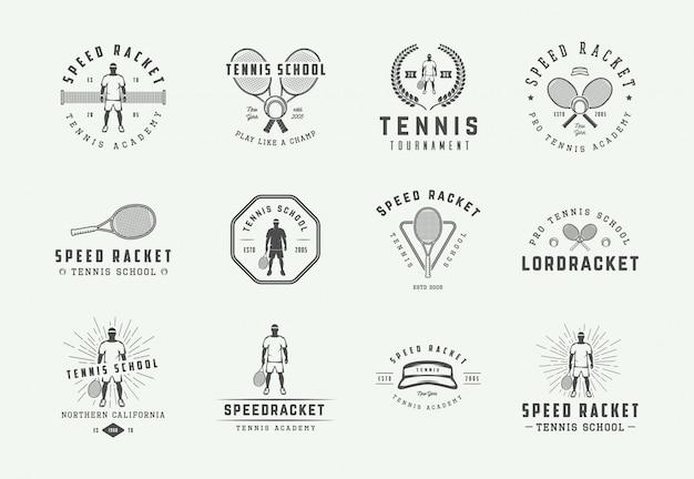 Zestaw vintage logo tenisowe, herby, odznaki, etykiety i elementy projektu. ilustracja. monochromatyczna grafika.