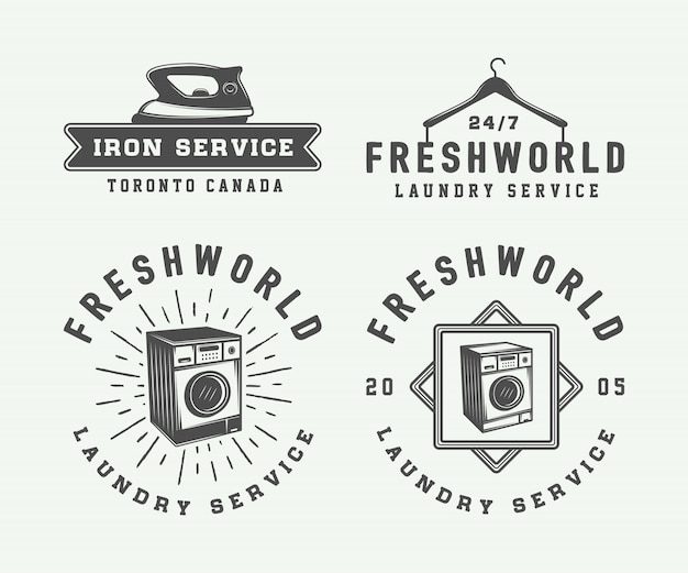 Zestaw vintage logo usługi prania, czyszczenia lub żelaza, emblematy, odznaki i elementy projektu. monochromatyczna grafika. ilustracja.