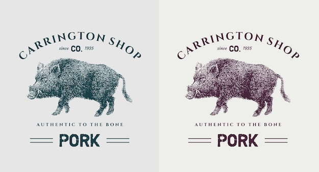 Zestaw vintage logo wieprzowiny