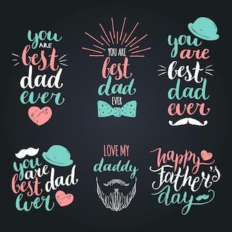 Zestaw vintage logotypów szczęśliwy dzień ojców. kolekcja kaligrafii wektorowej, jesteś najlepszym tatą w historii itp.