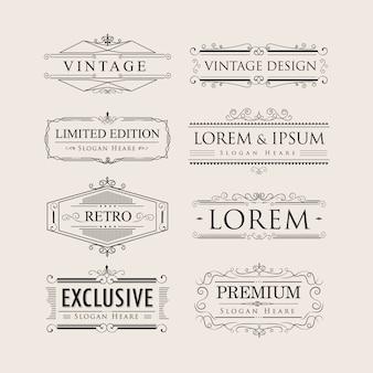 Zestaw vintage luksus kaligrafia rozkwita eleganckie odznaki logo v
