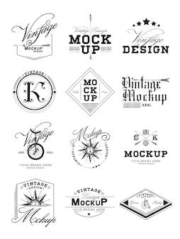 Zestaw vintage makieta logo wektor