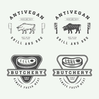 Zestaw vintage mięsny stek lub grill logo emblematy odznaki etykiety grafika