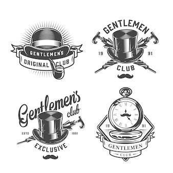 Zestaw vintage monochromatyczne emblematy dżentelmena