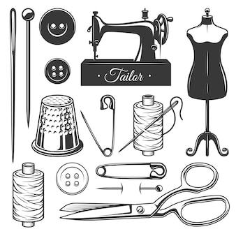 Zestaw vintage monochromatyczne narzędzia krawieckie.