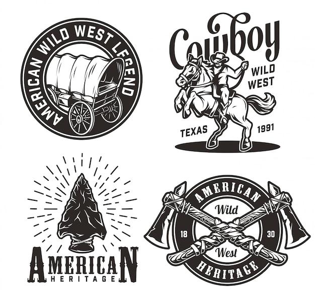 Zestaw vintage monochromatyczne odznaki dzikiego zachodu