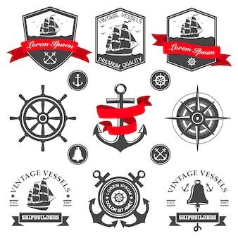 Zestaw vintage morskich etykiet, ikon i elementów projektu
