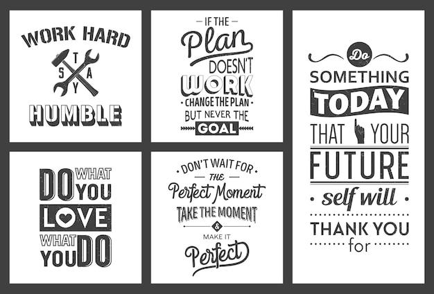 Zestaw vintage motywacja biznesowa cytaty typograficzne.