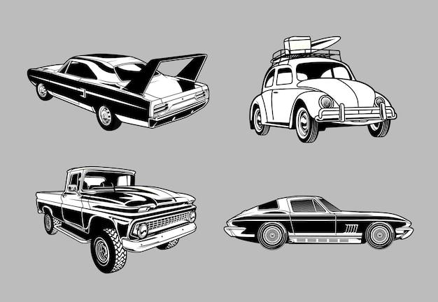 Zestaw vintage muscle i klasyczne samochody w monochromatycznych samochodach w stylu retro