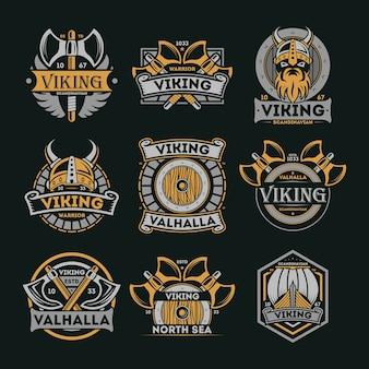 Zestaw vintage na białym tle etykiety viking