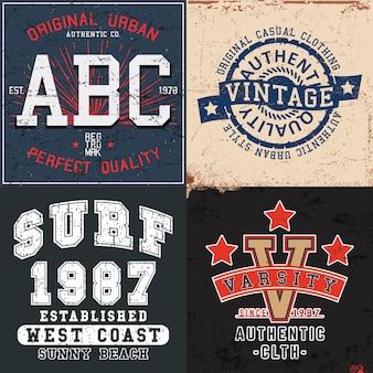 Zestaw vintage nadruku na znaczek t-shirt