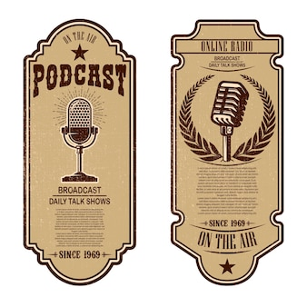 Zestaw vintage podcast, ulotki radiowe z mikrofonem