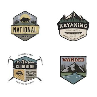 Zestaw vintage podróży ciągnione logo podróży. koncepcje etykiet kempingowych. wzory odznak wypraw w góry.