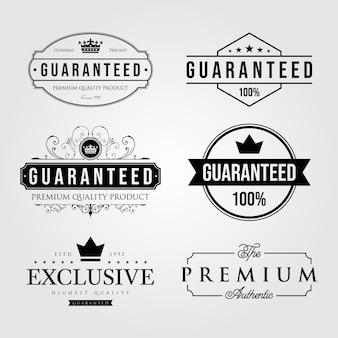 Zestaw vintage premium retro gwarantowana etykieta logo ilustracja