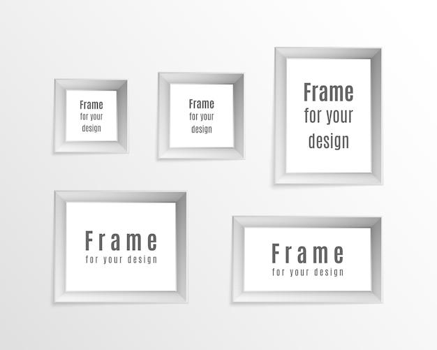 Zestaw vintage realistyczne ramki na białym tle na przezroczystym tle. idealny do prezentacji. projekt układu ramki do zdjęć.