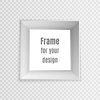 Zestaw vintage realistyczne ramki na białym tle na przezroczystym tle. projekt układu ramki do zdjęć.