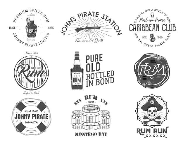 Zestaw vintage, ręcznie robione herby, etykiety, logo.