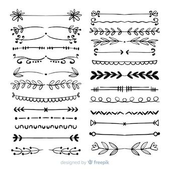 Zestaw vintage ręcznie rysowane dzielniki