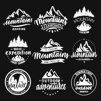 Zestaw vintage ręcznie rysowane odznaki podróży