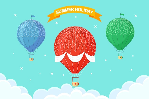 Zestaw vintage retro balonem z koszem na niebie