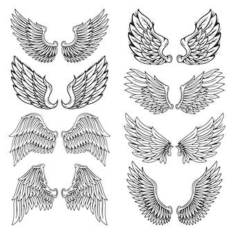 Zestaw vintage retro skrzydła aniołów i ptaków na białym tle ilustracja w stylu tatuażu.