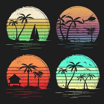 Zestaw vintage retro zachody słońca z palmami tło grunge retro zachód słońca w paski