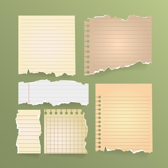Zestaw vintage rozdarty papier