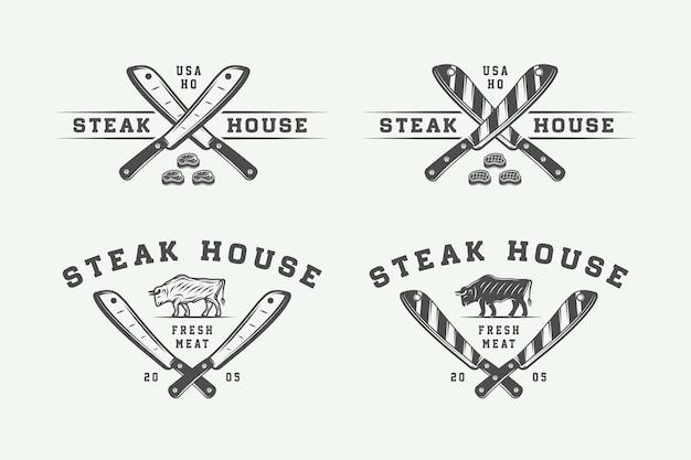 Zestaw vintage rzeźni logo, stek lub grill, emblematy, odznaki, etykiety. grafika monochromatyczna. ilustracja wektorowa.