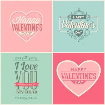 Zestaw vintage stylu valentine's day