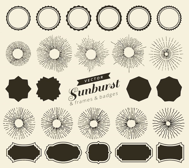 Zestaw vintage sunbursts odznaki i ramki do swojego projektu. modne ręcznie rysowane elementy projektu retro promienie rozrywające. etykiety geometryczne