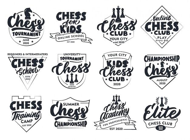 Zestaw vintage szachy herby i znaczki. odznaki klub szachowy, naklejki na białym tle.
