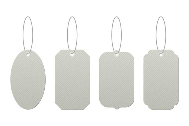 Zestaw vintage tagów z ciągami wektor wzór na białym tle