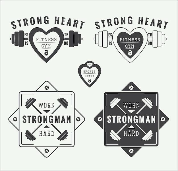 Zestaw vintage wektor logo siłowni, etykiety i emblematy