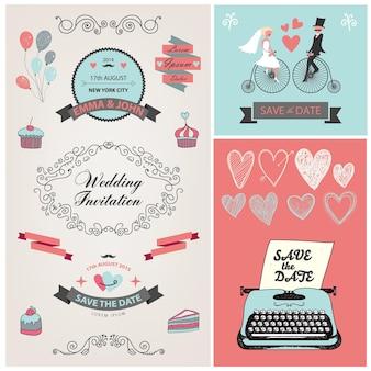 Zestaw vintage wektor, ręcznie rysowane elementy projektu zaproszenia ślubne